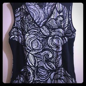 Worthington sleeveless black & white Blouse XL